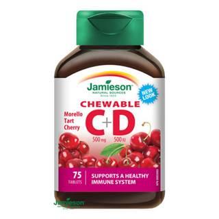 JAMIESON Vitamíny C a D3 500 mg s príchuťou čerešne 75 cmúľacích tabliet