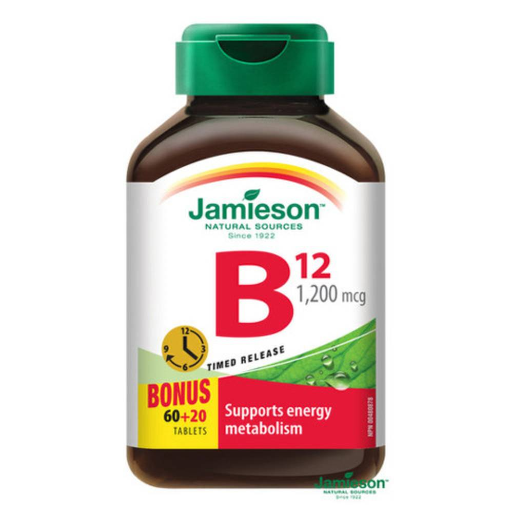Jamieson JAMIESON Vitamín B12 s postupným uvoľňovaním 60 + 20 tabliet ZADARMO