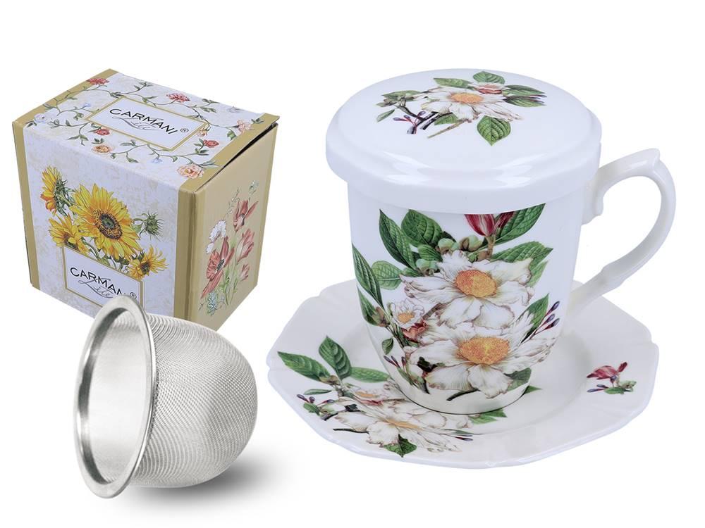 Manu tea Hrnček so sitkom, pokrievkou a tanierikom - Šípkový kvet