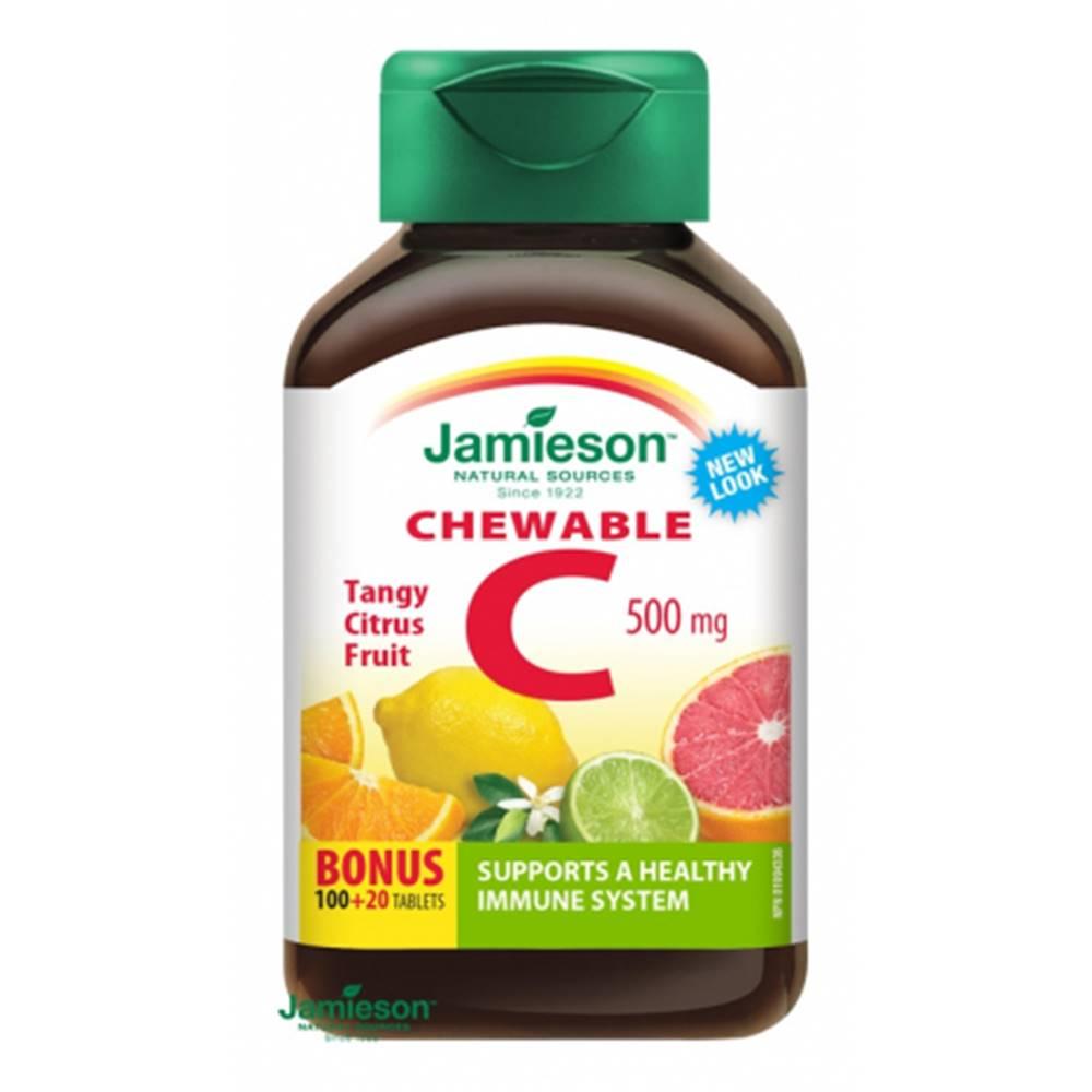 Jamieson Jamieson Vitamín C 500 mg tablety na cmúľanie s príchuťou citrusového ovocia 100 + 20 tbl ZDARMA