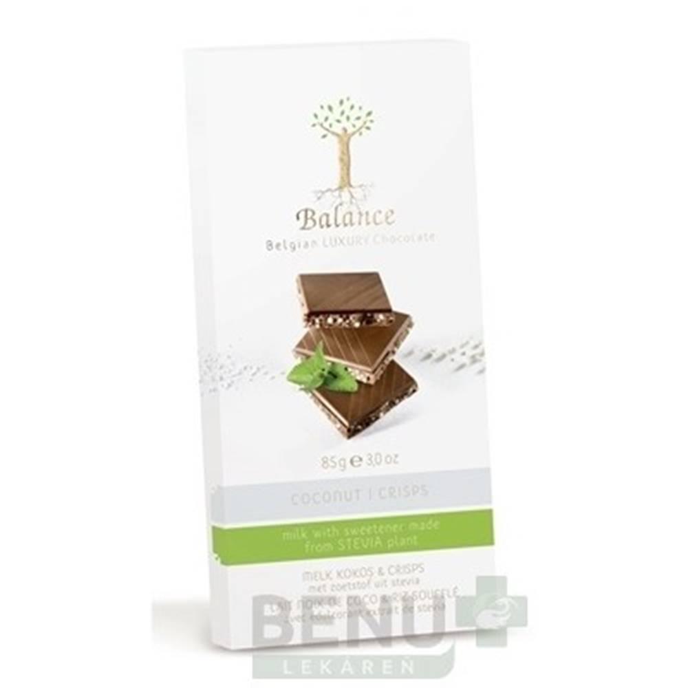 BALANCE BALANCE Mliečna čokoláda so sladidlom zo stévie s príchuťou kokos a chrumkami 85 g