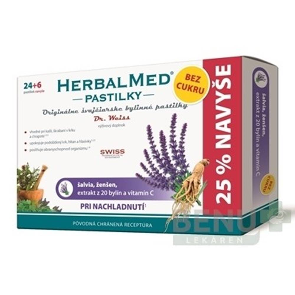Herbalmed HERBALMED PASTILKY BEZ CUKRU - Dr.Weiss 24+6ks