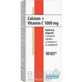 GENERICA Calcium + vitamín C 1000 mg 10 šumivých tabliet