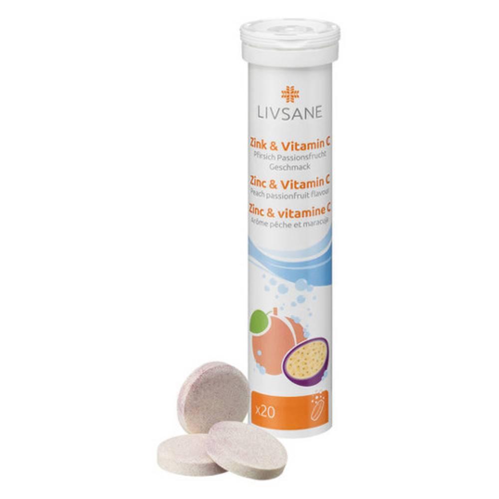 LIVSANE LIVSANE Zinok a vitamín C broskyňa múčenka 20 šumivých tabliet