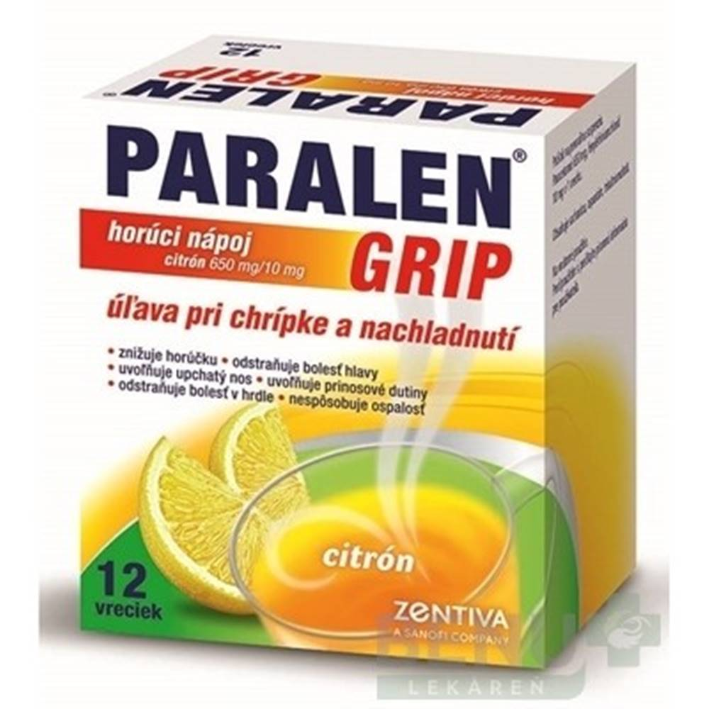 PARALEN PARALEN GRIP horúci nápoj citrón 650 mg/10 mg 12 vreciek