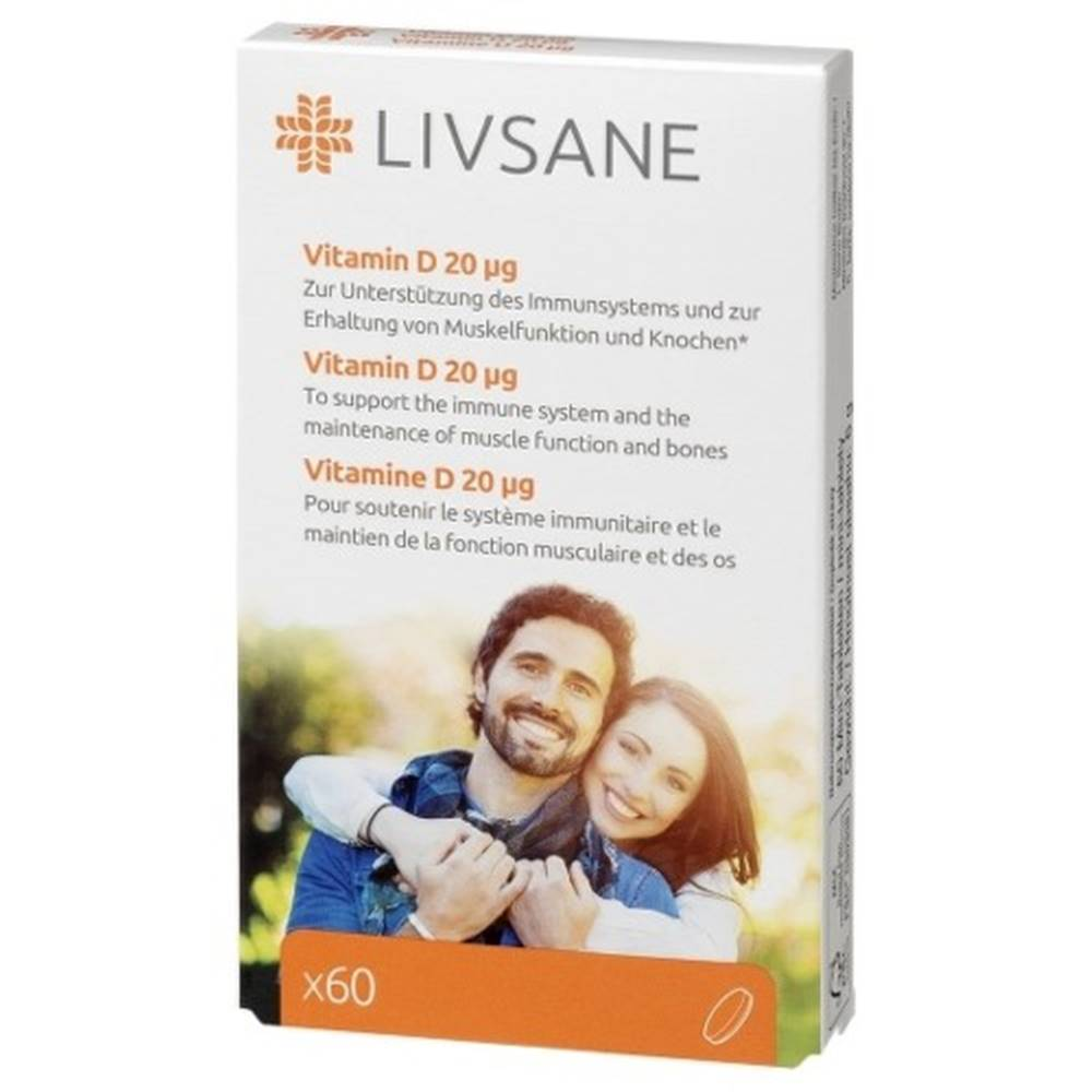 LIVSANE LIVSANE Vitamín D 20 mcg 60 tabliet
