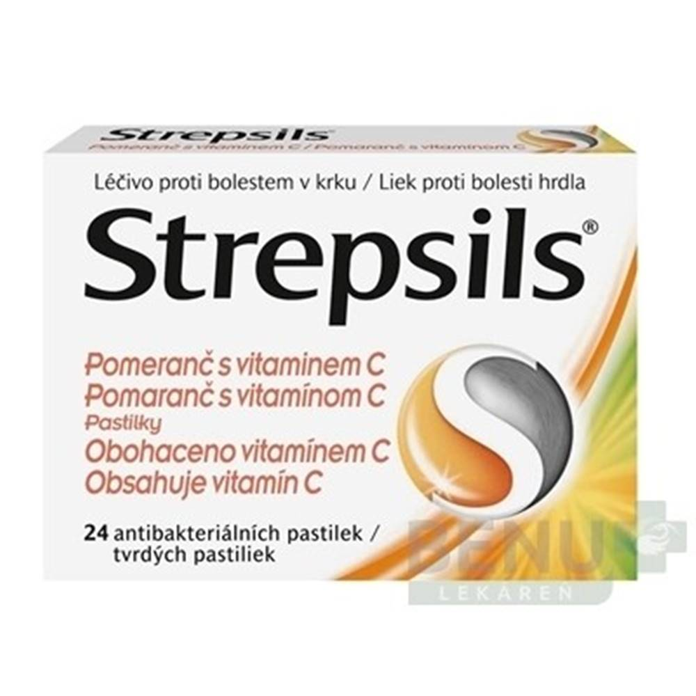 Strepsils STREPSILS Pomaranč s vitamínom C 24 tvrdých pastiliek